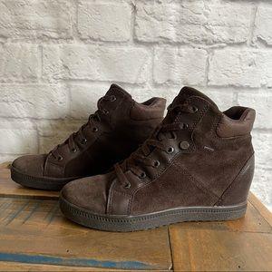 GEOX Brown Suede Wedge Sneakers Wedges Leather